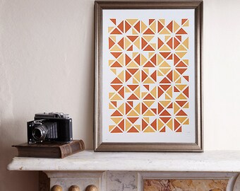Limited Edition Screen Print, Triangular Screen Print, Triangle Screenprint, Graphic Shapes, Triangles Print, Geometric Screen Print