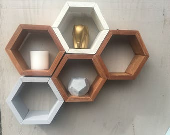 Small Geometric Reclaimed Wood Shelf