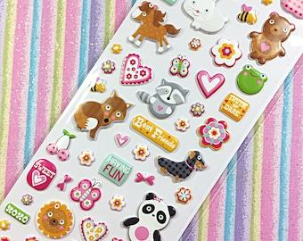 Kawaii animal love sticker sheet - kawaii puffy sticker sheet - sticko
