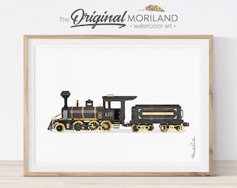 Steam Locomotive Print, Train Printable, Train Decor, Transportation, Railroad Wall Decor, Nursery Train Wall Art, Prints for Boys Room