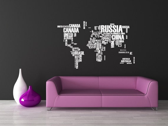 World map wall art world map decal world map wall decal gumiabroncs Images