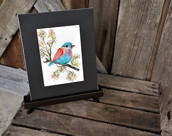 Original Hand Painted Watercolor Bird, Matted artwork, Watercolor bird, Bird on branch, Gift, Art, Colorful bird, Original, Wall art