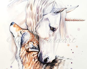 WATERCOLOUR PRINT of my original unicorn and wolf painting, mythical illustration artwork for home decor, wall art, gift for her or him