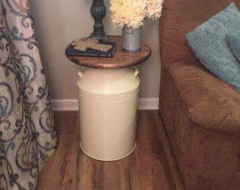 Milk Can end table, wood end table, cream milk can, end table, rustic end table, rustic table, round end table, metal end table, milk cans