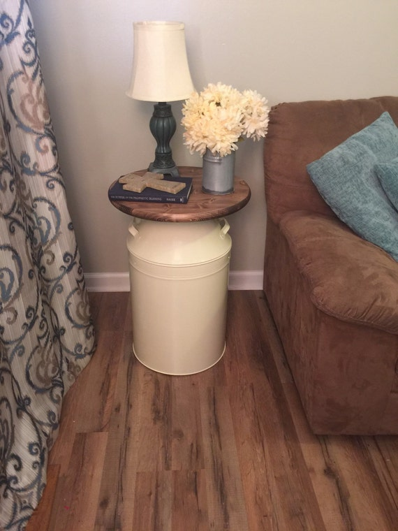Milk Can End Table Wood Cream