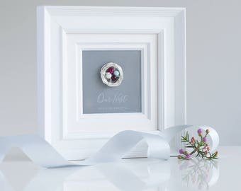 Our Family Nest Birthstone Frame, Personalized Silver Nest with Birthstones, 17x17cm, White wooden frame with nest (OHSO859)