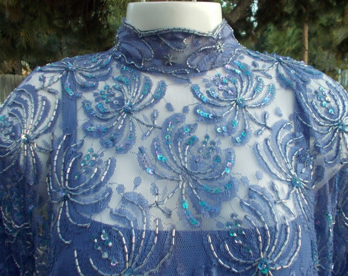 Vintage 80s Judith Ann Creations Nora Zandra' Blue Bead Floral Lace Evening Special Occasion Womens Bubble Drop Waist Above The Knee Dress