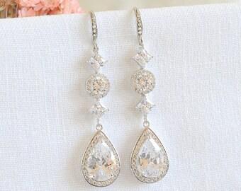 Crystal Bridal Earrings, Wedding Earrings, Halo and Teardrop Earrings, Long Dangle Earrings, Wedding Jewelry, Old Hollywood Style, ARIANNE