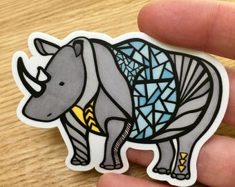 Rhino Vinyl Sticker - Decal - Laptop Sticker - Bumper Sticker- Small Gift - Animal