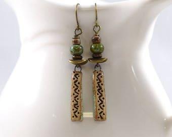 Handmade Earrings, Stoneware Earrings, Brown and Turquoise, Artisan Earrings, Boho Earrings, Brass Earrings,Turquoise Earrings,Ceramic,AE140