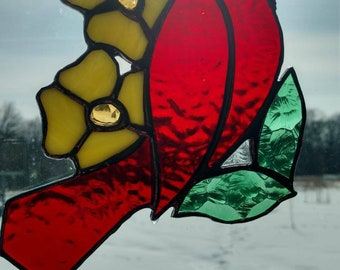 Stained glass red cardinal bird - handmade