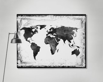 World map canvas art print travel map large world map black world map canvas art print travel map large world map black white gumiabroncs Gallery