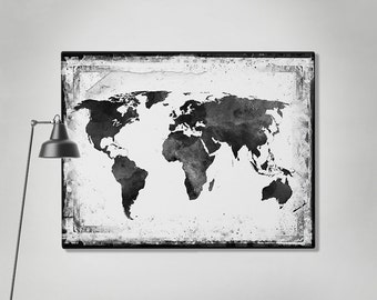 World map canvas art print travel map large world map black world map canvas art print travel map large world map black white gumiabroncs