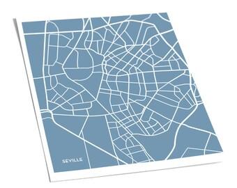 Seville Street Map City Artwork / Sevilla Spain Poster Print / 8x10 / Personalized colors