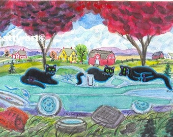 ORIGINAL FOLK ART,  Three Black Country Cats with a Restored 57 Chevy in their Woods to Lay on