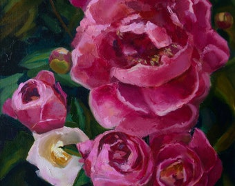 Pink peonies, original oil painting