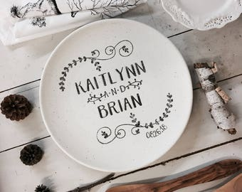 Name Wedding Coupe Personalized Pottery Ceramic Wedding Anniversary Gift for Couples Unique & Imagine Love Plate Personalized Pottery Ceramic Wedding