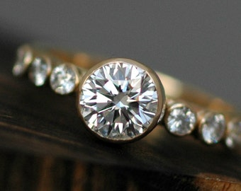 1 Carat Moissanite and Recycled Gold Ring- Made to Order in Yellow, Rose, or White 14k or 18k Recycled Gold