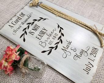 Cord Of Three Strands Ceremony Braid Sign | Wedding Braid Sign | Personalized Ceremony Braid | Gods Knot | Unity Board