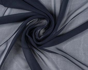 "45"" Wide 100% Silk Chiffon Midnight Navy Blue By the Yard (5000M195)"