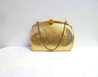 50s 60s Admiral Gold Lame Pleather Clutch, Vintage Vegan Evening Purse, Convertible, Hinged Jewel Latch, Covered Frame, Wedding/Party Clutch