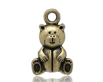 set of 4 charms bear Teddy bear color bronze (R12)
