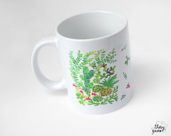 Green cacti mug, Succulent mug, Cactus cup, Cactus mug, Gift for cactus lover, Watercolor mug, Ceramic coffee mug, Gift for friend, Tea cup