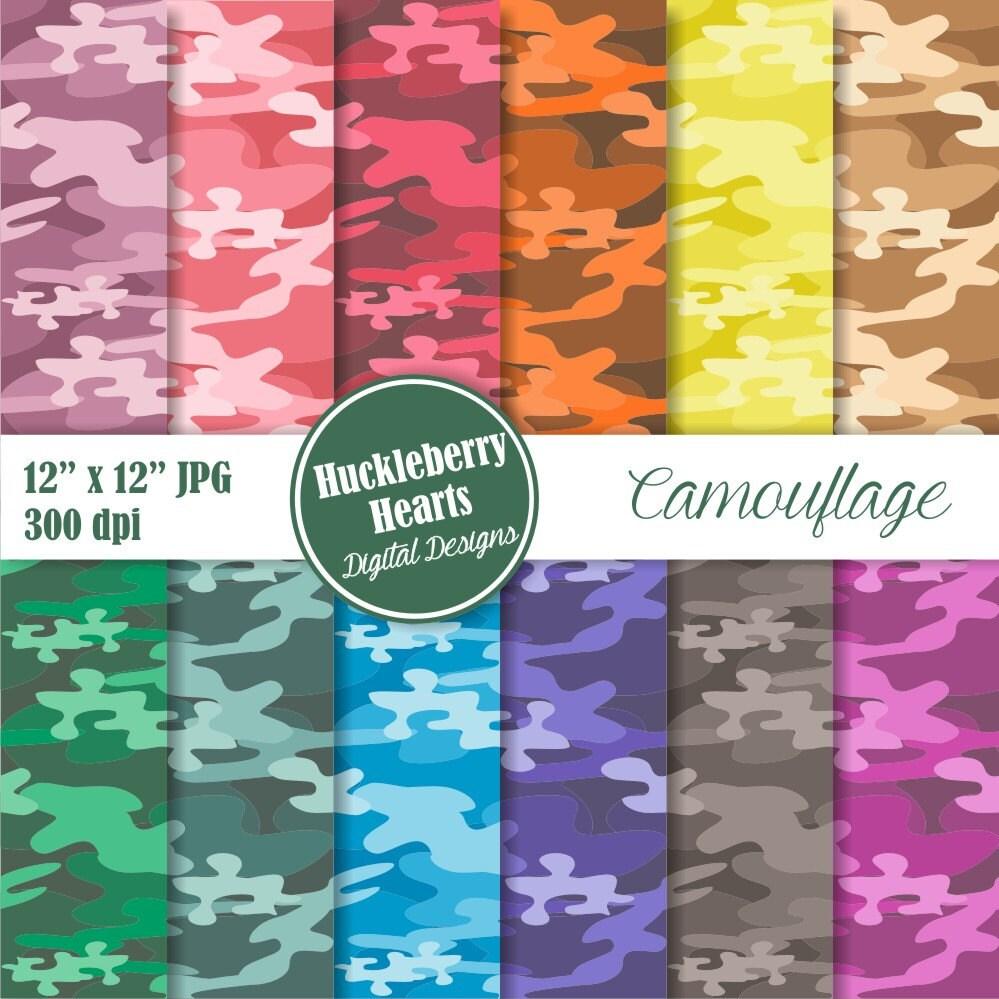 Camouflage Digital Paper Digital Scrapbook Paper Digital
