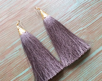 Statement Jewelry, Tassel Earrings, Grey Earrings, Tassel Jewelry, Dangle Earrings