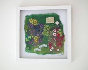 Framed Felt Picture, Embroidery, 'Back To The Garden', Original Textile Art, Original Fibre Art, White Painted Wood Frame, UK Seller