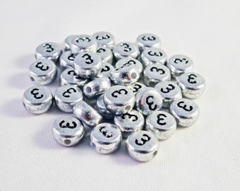 NL09 - Beads set figure number 3 to 7mm with Silver metallic color