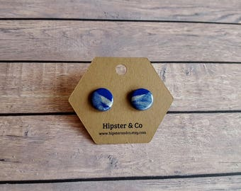 Blue and Silver Round Polymer Clay Stud Earrings - Circular - Circle