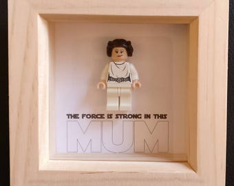 Lego inspired Star Wars Leia minifigure Mother's Day framed art