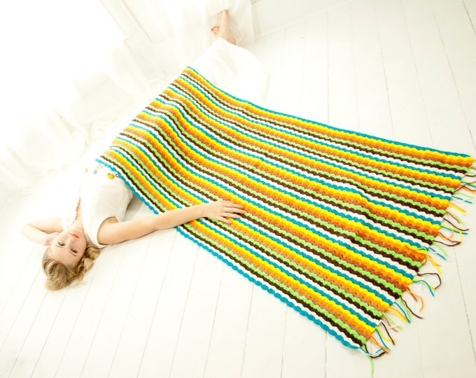 Vintage long striped afghan, blue green turquoise colorful yellow throw blanket fringe, 1970s retro boho home decor