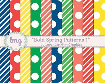 Spring Digital Paper, Scrapbook Paper, Digital Background, Polka Dots, Colorful Digital Paper, Paper Pack, Digital Download, Commercial Use