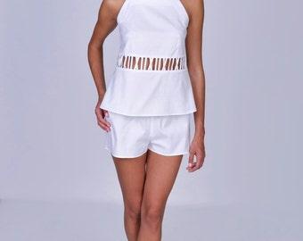 Short white pajama made of pure cotton, bridal pajama set