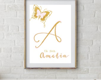 Girls Name Print, Personalized, Pink Gold Nursery, Butterfly Prints, Girls Name Print, Girls Bedroom Decor, Kids Wall Art