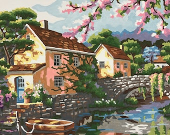 Paint By Number Vintage Cherry Blossom Stream Cottage