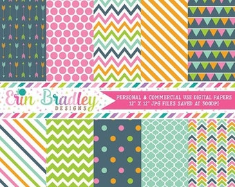 80% OFF SALE Pink Blue Green Orange Digital Paper Pack Personal & Commercial Use Digital Scrapbook Patterns Arrows Polka Dots Chevron Stripe