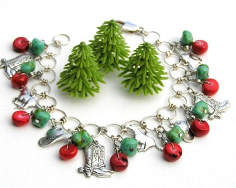 Silver Charm Bracelet, Cowgirl Bracelet,Red Coral, Turquoise, Green, Western Charm Bracelet