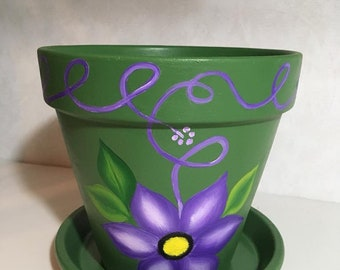 Colorful Hand-Painted Terracotta Pot