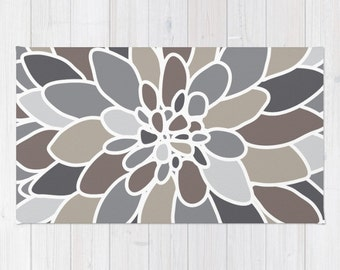 Flower Area Rug - Abstract Flower  Rug - Grey and Brown Area Rug - Flower Rug - Modern Home Decor - By Aldari Home