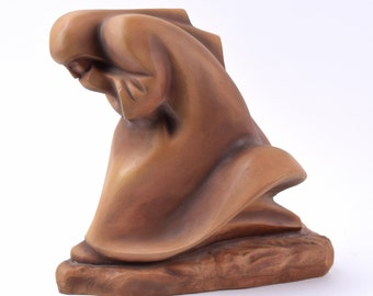 1949 German Expressionist Art Pottery Sculpture Cloaked Figure Walking Inscribed
