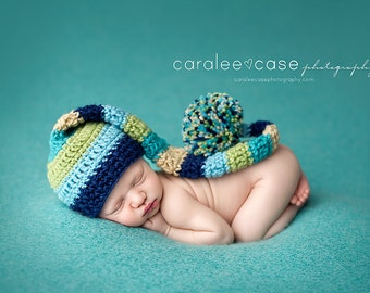 Elf Hat in Navy, Aqua, Sweet Pea, Teal, and Beige