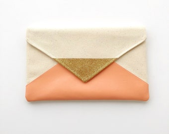 Peach Glitter Envelope Clutch, bridesmaid clutch, bridesmaid gift, bridal clutch, wedding gift set, gift for her