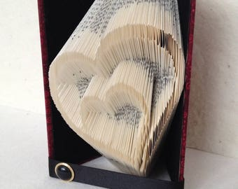 Folded Book Art Nested Hearts Fabric Covered
