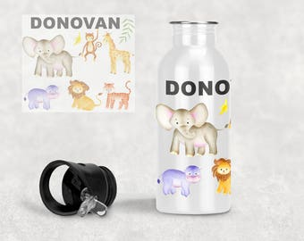Personalised Stainless Steel Water Bottle - Jungle