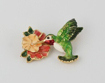 Enamel Hummingbird Pin, Hummingbird Pin, Hummingbird Jewelry, Hummingbird Brooch,  Vintage Hummingbird Hibiscus Flower Figural Pin Brooch