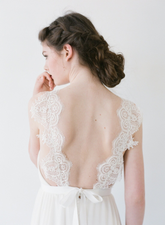 Jordan a chiffon wedding dress with lace straps zoom ombrellifo Choice Image