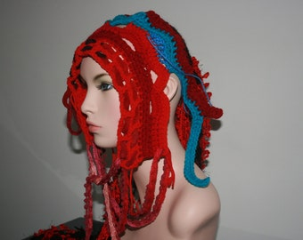 No: 32 Freeform crochet hat, wearable art, OOAK